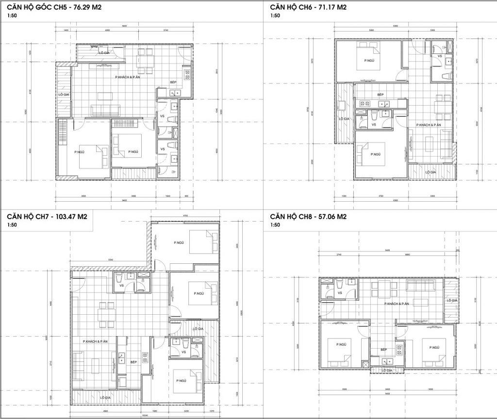 Thiết kế căn hộ 5-6-7-8 chung cư The 5 Degrees Phố Cúc Ecopark - An Phú