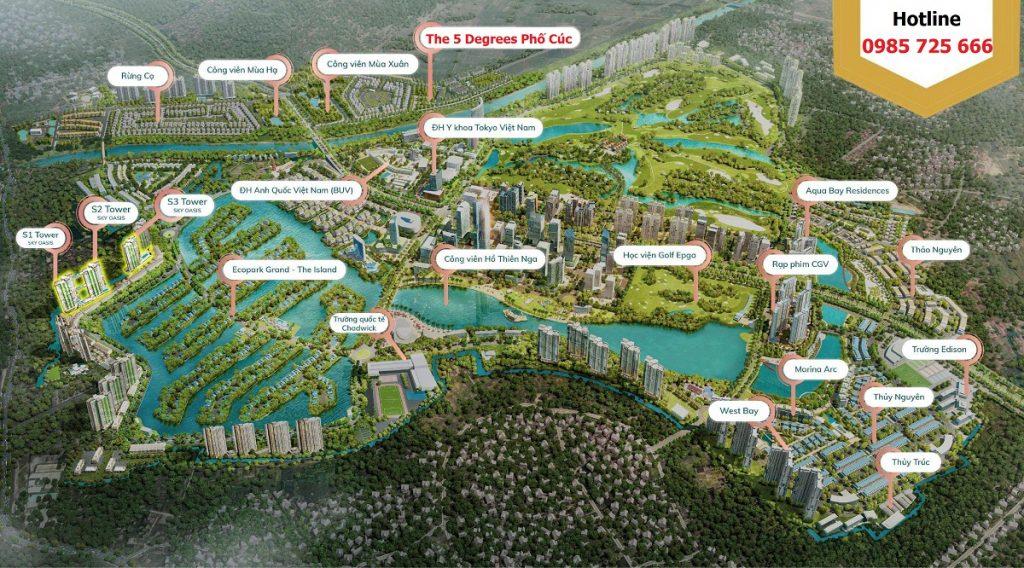 Vị trí chung cư The 5 Degrees Phố Cúc Ecopark - An Phú