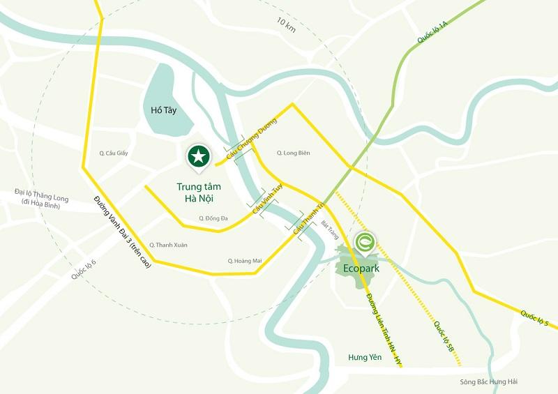 Vị trí khu đô thị Ecopark Hưng Yên