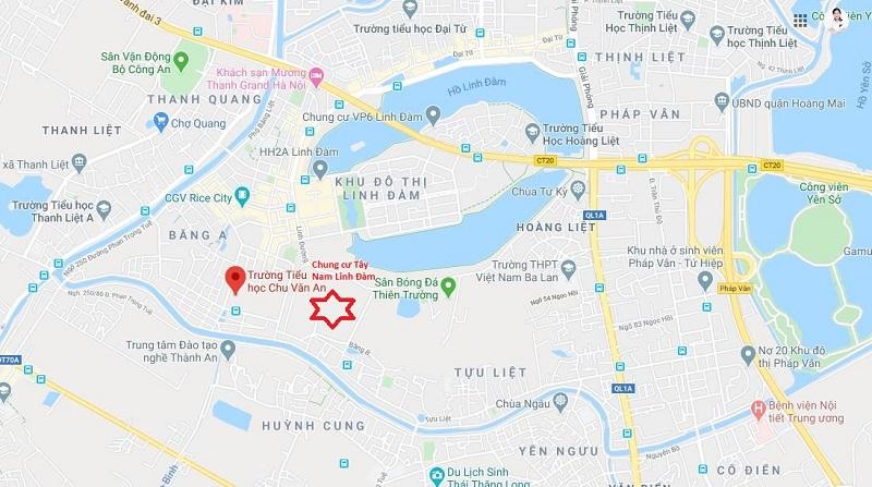 Vị trí trên bản đồ dự án chung cư Lavita Linh Đàm - Hưng Thịnh