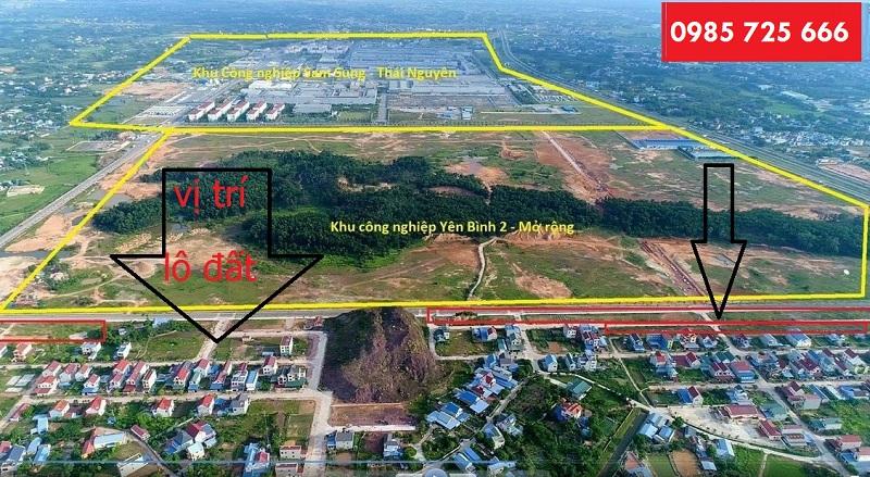 Flycam đất đấu giá Hồng Tiến - Phổ Yên cạnh Samsung