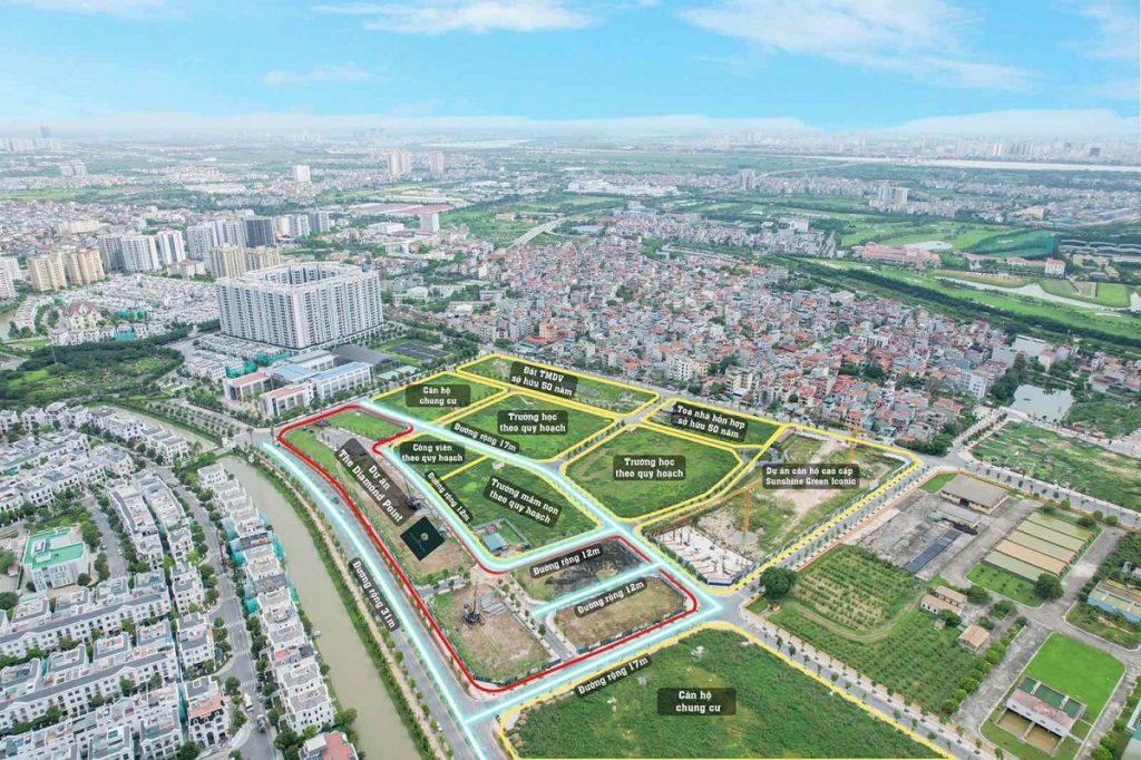 Flycam thực tế dự án The Diamond Point C14 Phúc Đồng - Long Biên