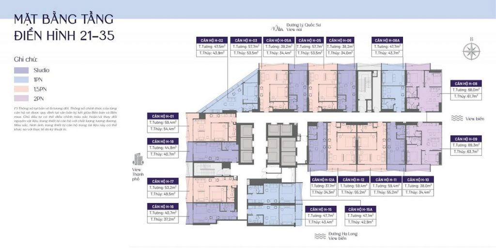 Mặt bằng căn hộ tầng 21-35 dự án The Holiday Bãi Cháy - Hạ Long
