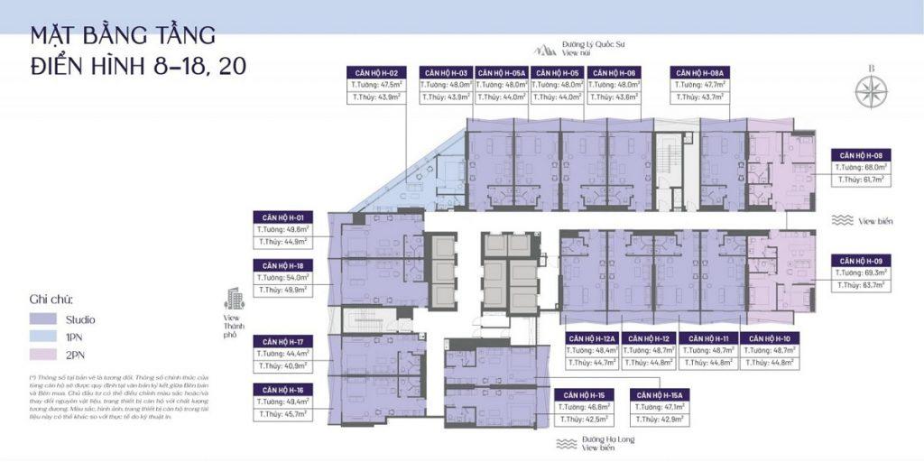 Mặt bằng căn hộ tầng 8-20 dự án The Holiday Bãi Cháy - Hạ Long