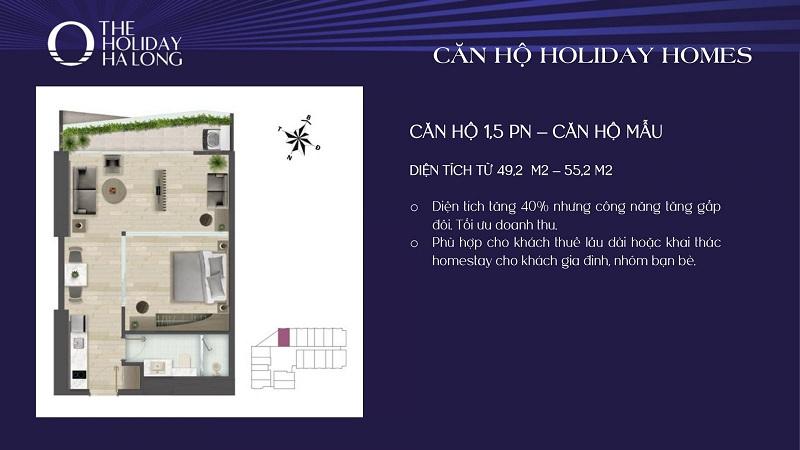Thiết kế căn 1,5pn dự án The Holiday Bãi Cháy - Hạ Long