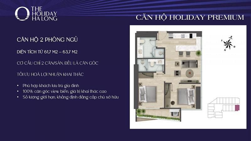 Thiết kế căn 2pn dự án The Holiday Bãi Cháy - Hạ Long