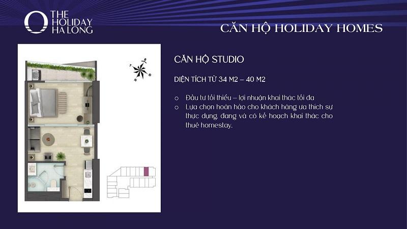 Thiết kế căn studio 2 dự án The Holiday Bãi Cháy - Hạ Long