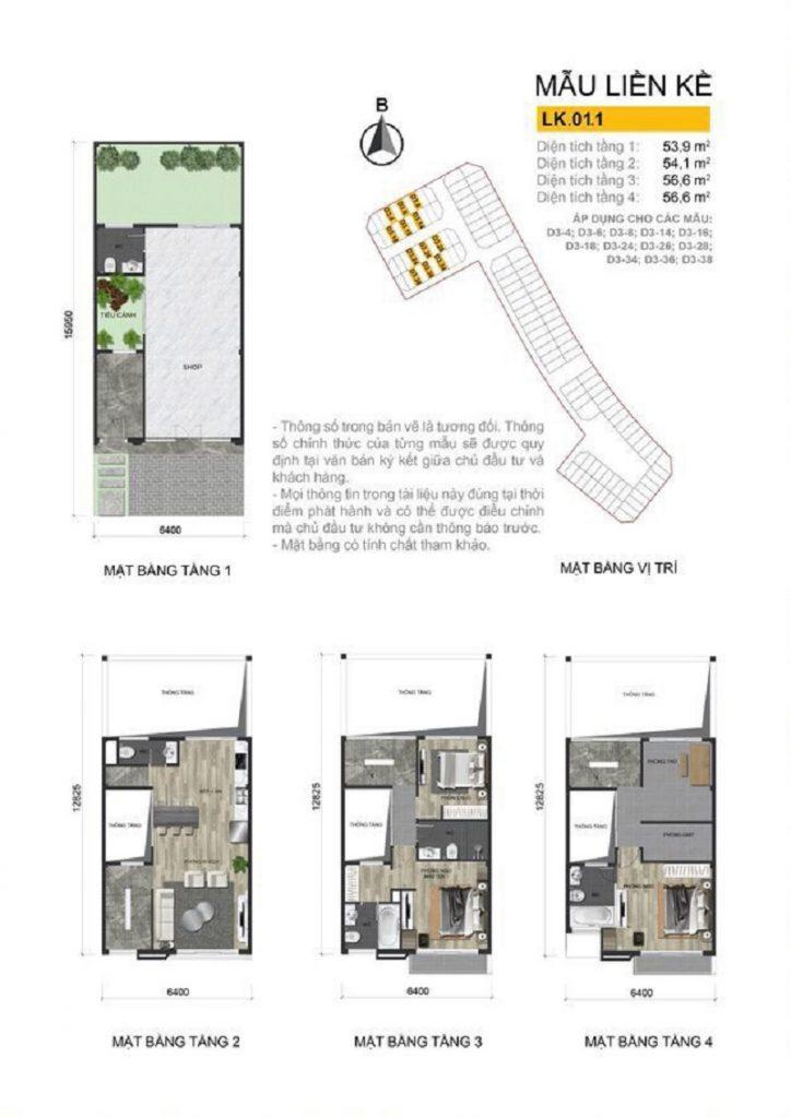 Thiết kế liền kề dự án The Diamond Point C14 Phúc Đồng - Long Biên