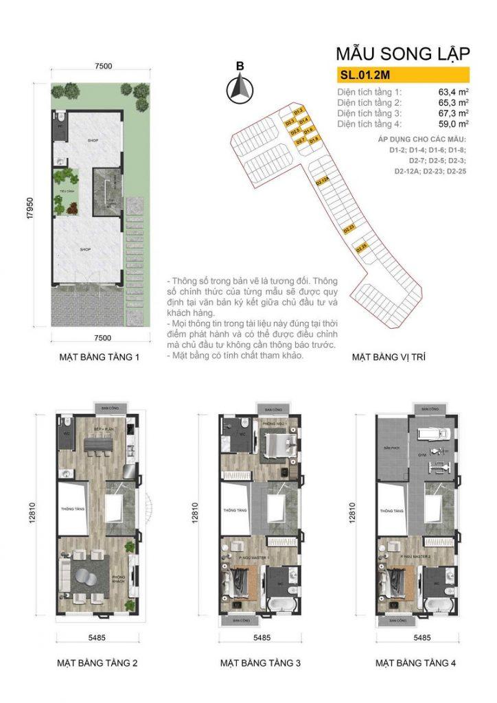 Thiết kế mẫu biệt thự song lập 1 dự án The Diamond Point C14 Phúc Đồng - Long Biên