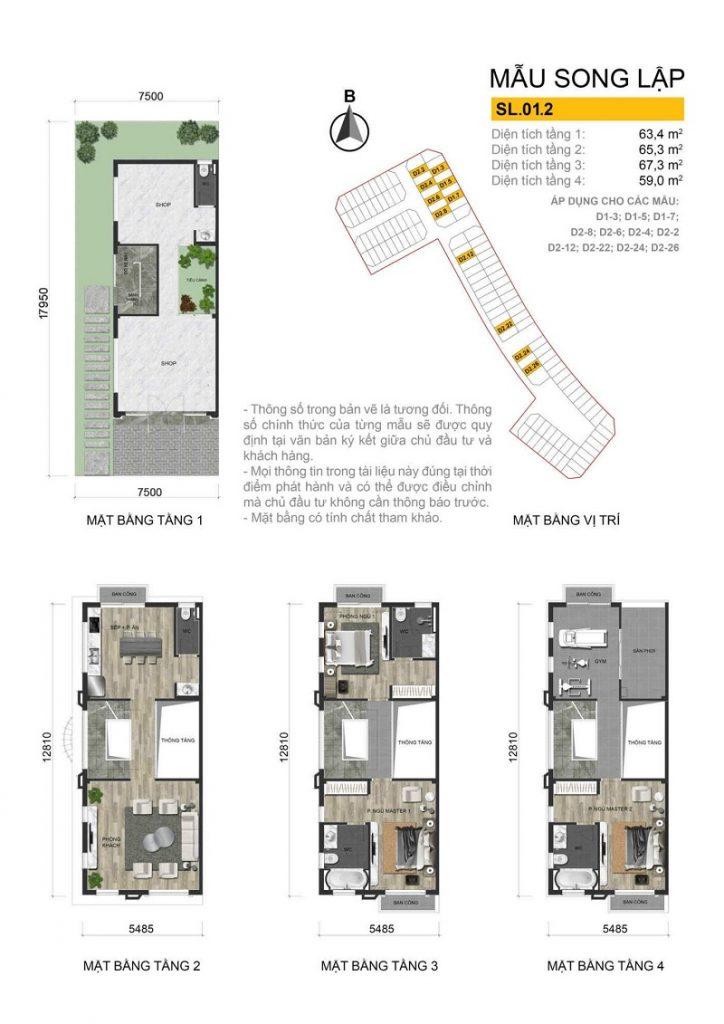 Thiết kế mẫu biệt thự song lập 2 dự án The Diamond Point C14 Phúc Đồng - Long Biên