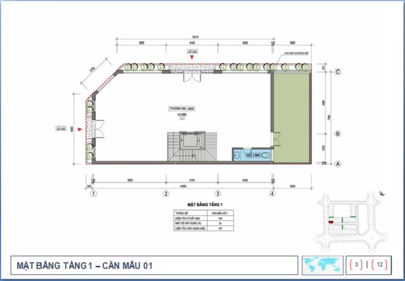 Thiết kế tầng 1 Shophouse Nguyễn Cao Luyện - Vạn Hạnh CT10 Việt Hưng - Long Biên