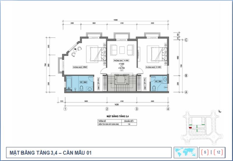 Thiết kế tầng 3-4 Shophouse Nguyễn Cao Luyện - Vạn Hạnh CT10 Việt Hưng - Long Biên