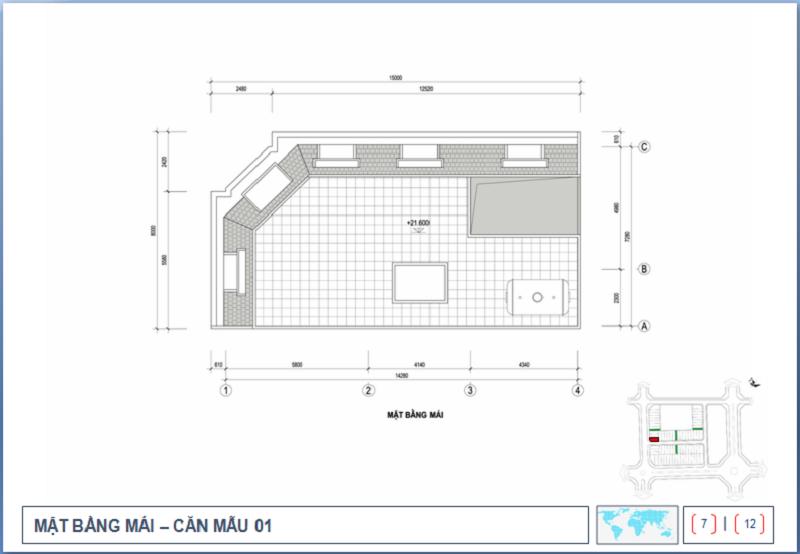 Thiết kế tầng mái Shophouse Nguyễn Cao Luyện - Vạn Hạnh CT10 Việt Hưng - Long Biên