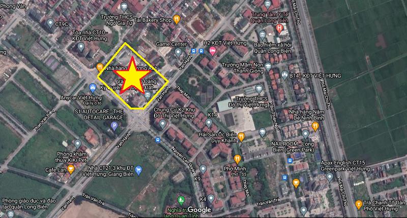 Vị trí dự án Shophouse Nguyễn Cao Luyện - Vạn Hạnh CT10 Việt Hưng - Long Biên