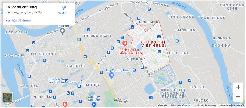 Vị trí KĐT Việt Hưng - Long Biên