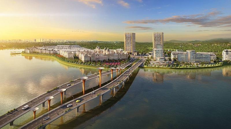 Cầu Đầm Vạc qua dự án River Bay Vĩnh Yên - Bắc Đầm Vạc
