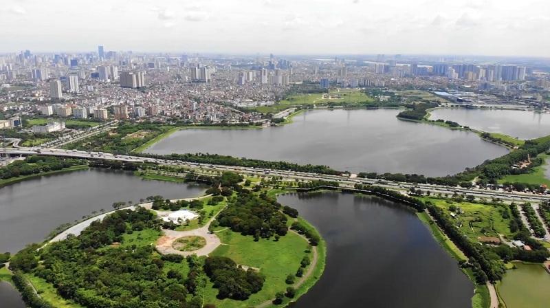 Flycam thực tế Công viên hồ điều hòa Yên Sở - Hoàng Mai và dự án Eurowindow Lake City