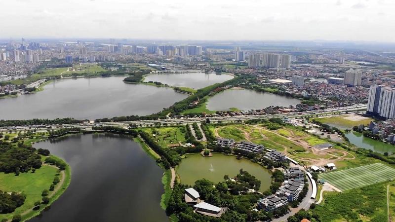 Flycam 2 thực tế Công viên hồ điều hòa Yên Sở - Hoàng Mai và dự án Eurowindow Lake City