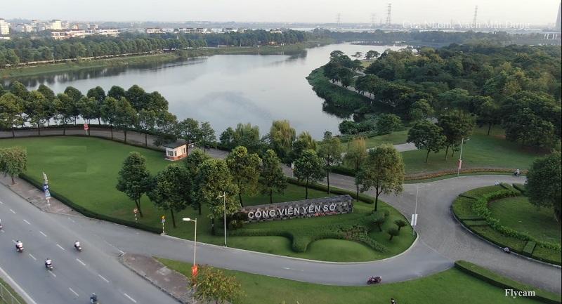 Flycam 3 thực tế Công viên hồ điều hòa Yên Sở - Hoàng Mai và dự án Eurowindow Lake City