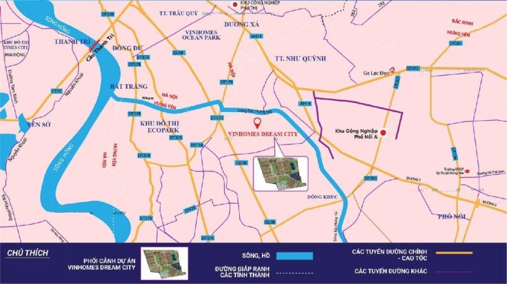 Kết nối dự án Vinhomes Dream City Văn Giang - Hưng Yên