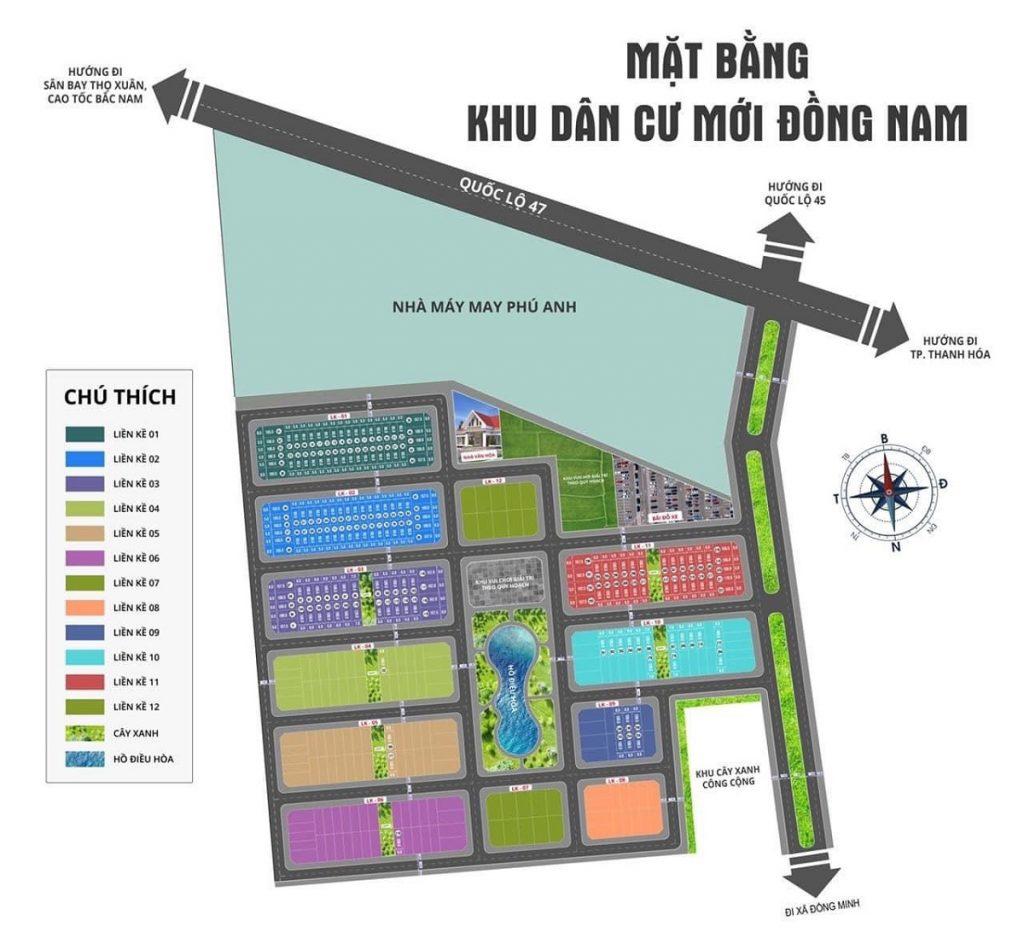 Mặt bằng phân lô khu đất đấu giá Đồng Nam - Đông Sơn - Thanh Hóa