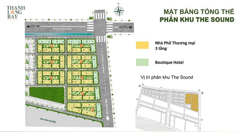 Mặt bằng phân lô nhà phố thương mại The Sound dự án Thanh Long Bay - Kê Gà - Bình Thuận