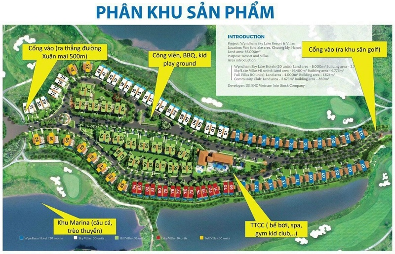 Mặt bằng phân lô dự án Wyndham Sky Lake Chương Mỹ Resort & Villas