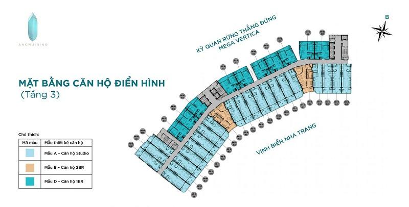 Mặt bằng tầng 3 dự án căn hộ AnCruising Anh Nguyễn An Viên - Nha Trang