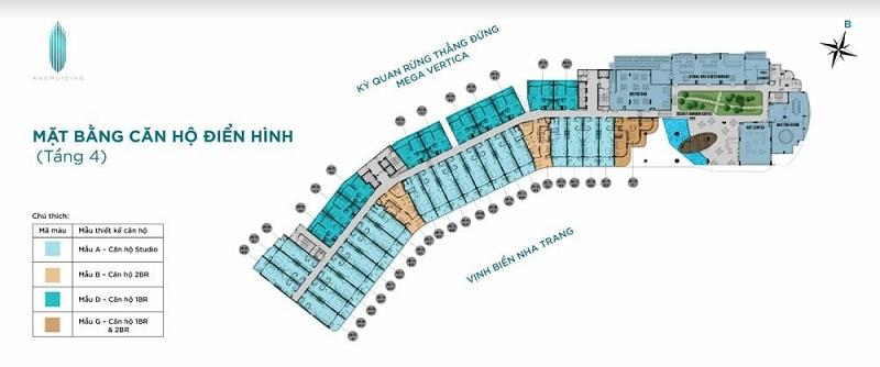 Mặt bằng tầng 4 dự án căn hộ AnCruising Anh Nguyễn An Viên - Nha Trang