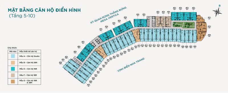 Mặt bằng tầng 5-10 dự án căn hộ AnCruising Anh Nguyễn An Viên - Nha Trang