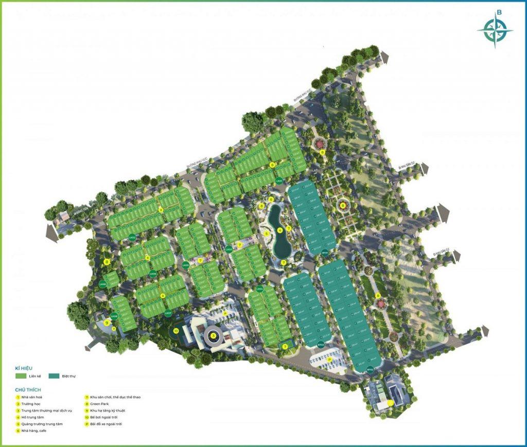Mặt bằng tiện ích khu đất đấu giá Phương Đông Green Valley Lương Sơn - Hòa Bình