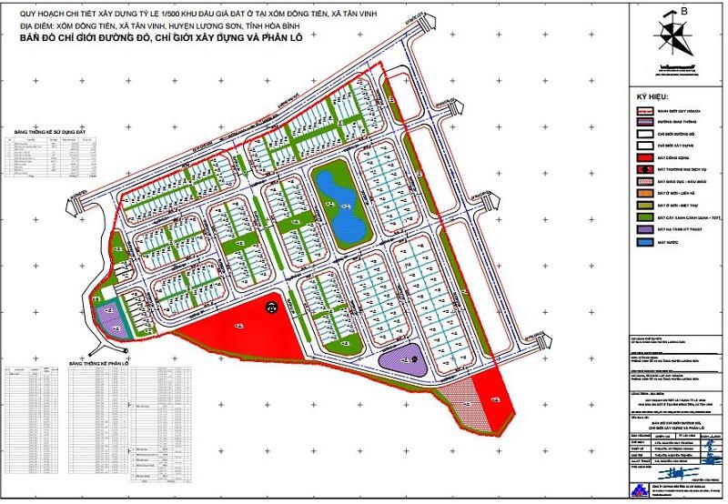 Quy hoạch 1/500 khu đất đấu giá Phương Đông Green Valley Lương Sơn - Hòa Bình