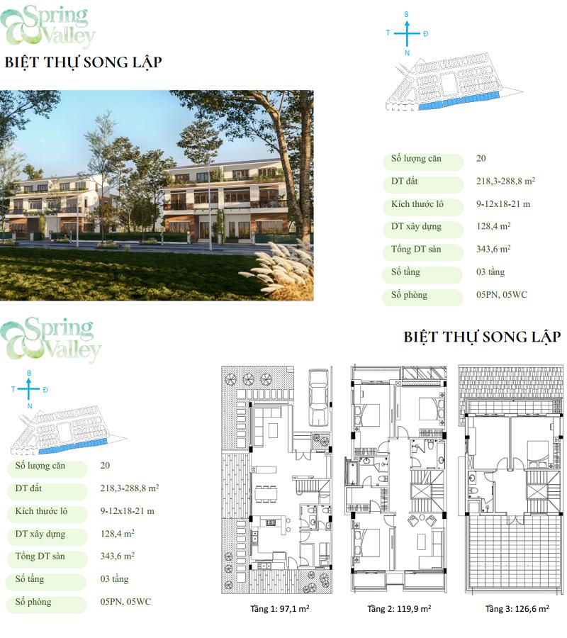 Thiết kế biệt thự song lập phân khu Spring Valley 1C Ecopark - Thung Lũng Mùa Xuân