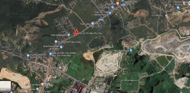 Vị trí dự án đất nền Bắc Phú Thứ - Kinh Môn - Hải Dương trên Google map