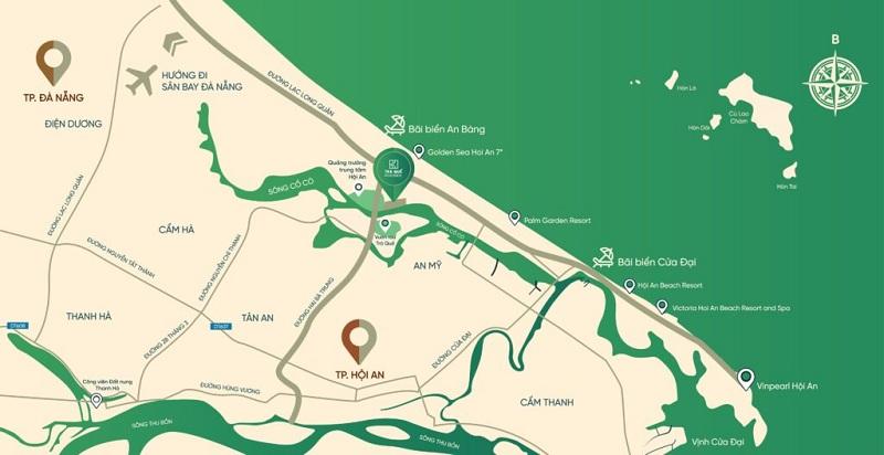 Vị trí dự án đất nền Trà Quế Riverside Hội An - Quảng Nam