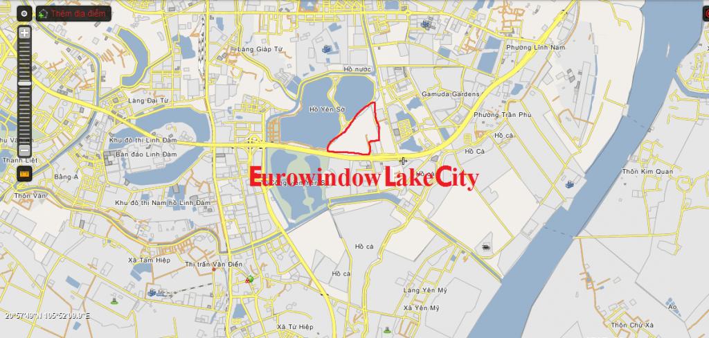 Vị trí dự án Eurowindow Lake City Hoàng Mai - Yên Sở