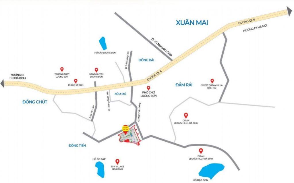 Vị trí khu đất đấu giá Phương Đông Green Valley Lương Sơn - Hòa Bình
