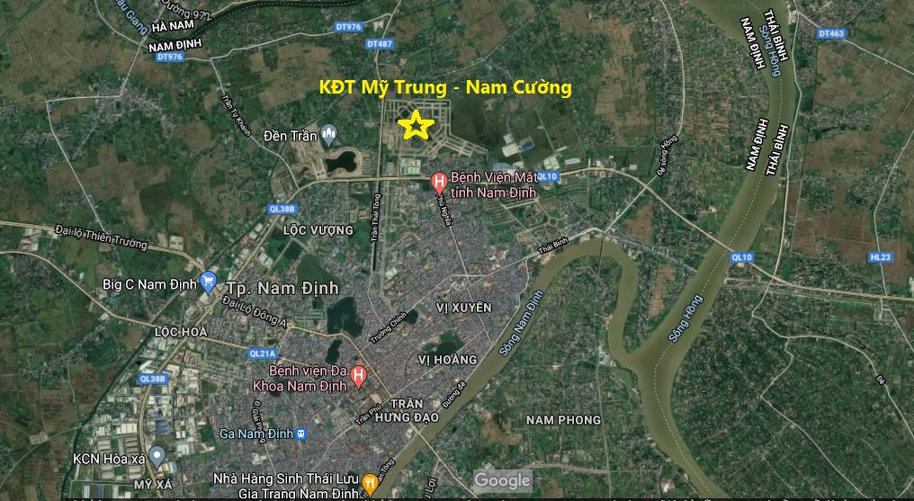 Vị trí khu đô thị Mỹ Trung Nam Định