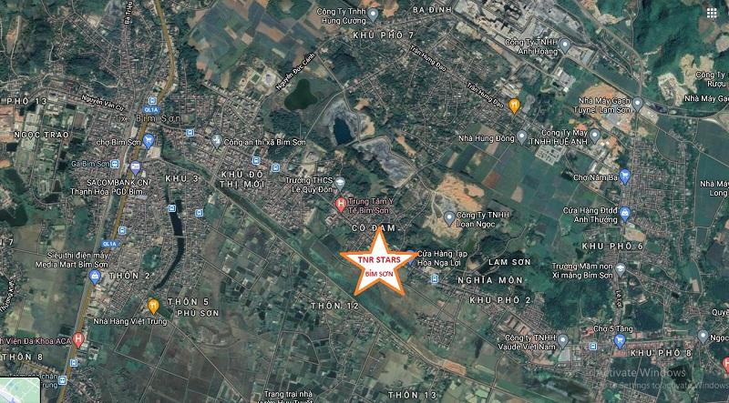 Vị trí dự án TNR Stars Cổ Đam - Bỉm Sơn - Thanh Hóa