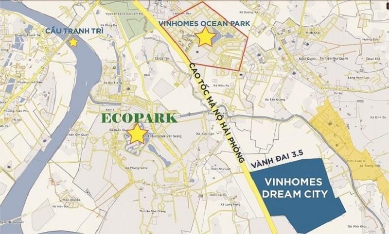 Vị trí dự án Vinhomes Dream City Văn Giang - Hưng Yên