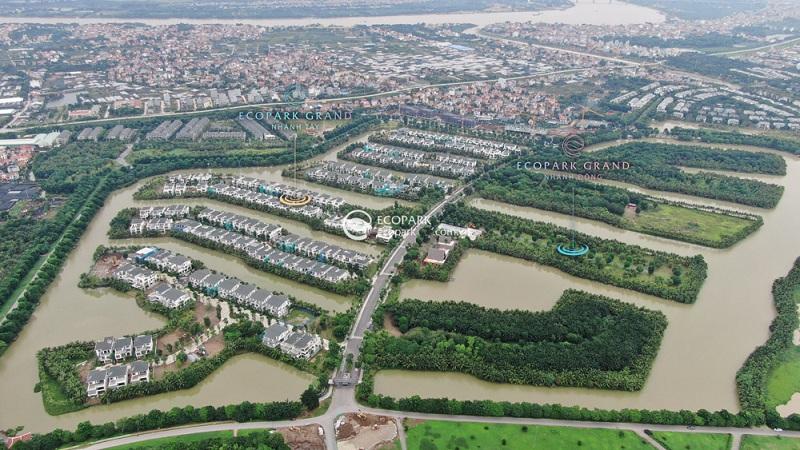 Flycam thực tế biệt thự đảo lớn Ecopark Sofitel Residences Villas
