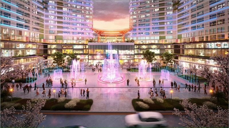 Quảng trường trung tâm dự án Shophouse khối đế Swan Lake Onsen Ecopark