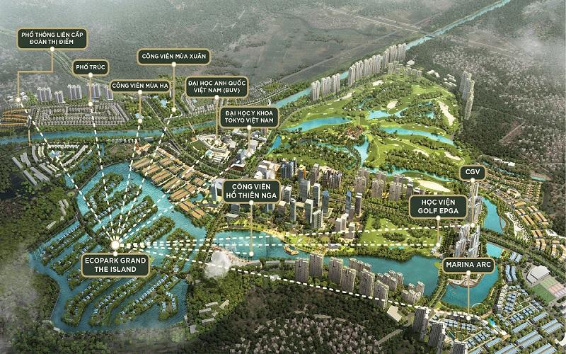 Vị trí biệt thự đảo lớn Ecopark Sofitel Residences Villas