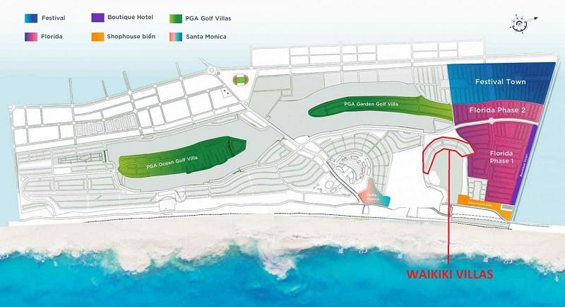 Vị trí biệt thự Waikiki Novaworld Phan Thiết