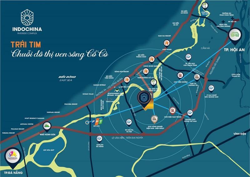 Vị trí dự án đất nền Indochina Riverside Complex Nam Đà Nẵng