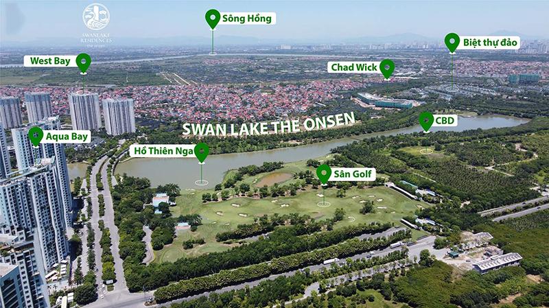 Vị trí dự án Shophouse khối đế Swan Lake Onsen Ecopark