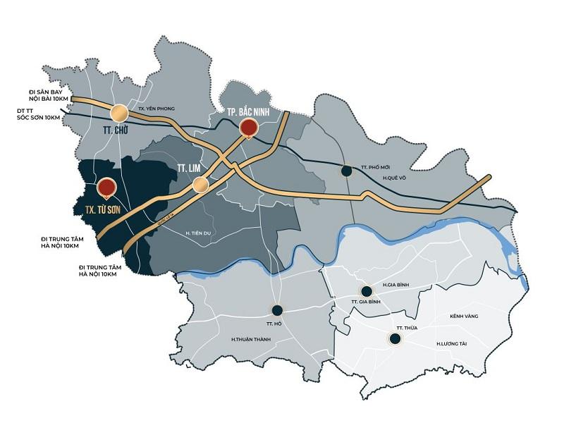Bản đồ địa lý Bắc Ninh - dự án Hanaka Paris Phú Quý - Văn Môn