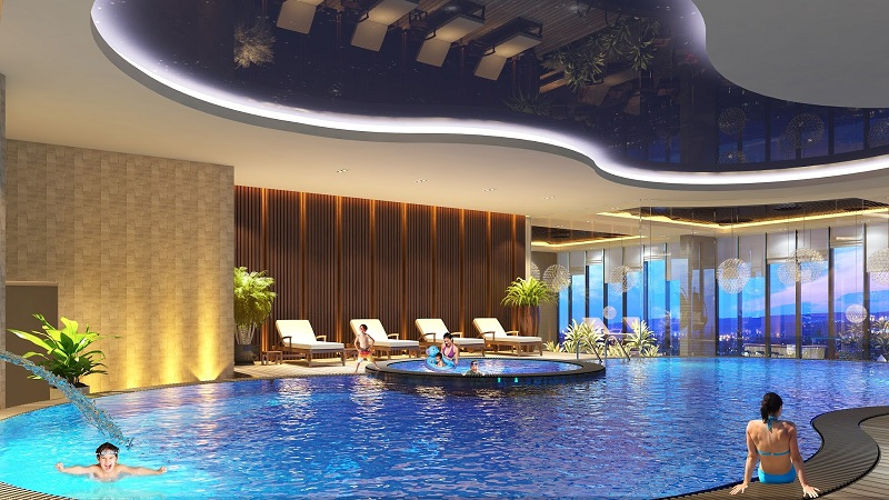 Bể bơi bốn mùa dự án chung cư Hà Nội Orchard Park số 6-8 Chùa Bộc