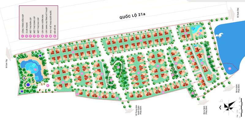 Mặt bằng biệt thự dự án V Melody Villas Hòa Lạc - Thạch Thất