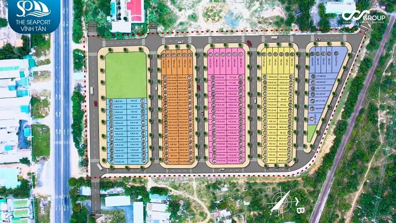 Mặt bằng dự án đất nền Seaport Vĩnh Tân - Bình Thuận